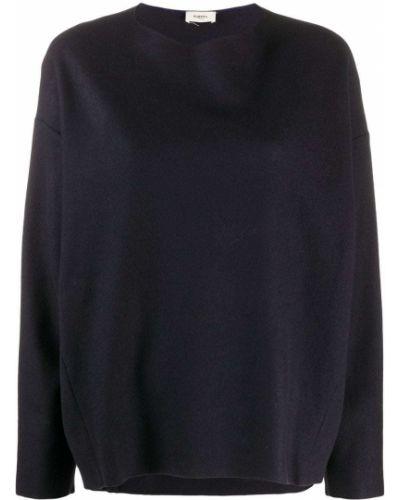 Шерстяной синий джемпер с круглым вырезом с длинными рукавами Barena