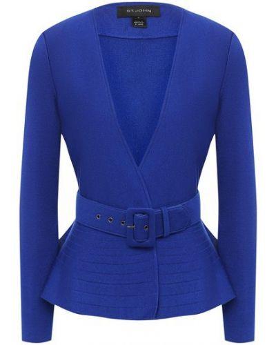 Шерстяной пиджак - синий St. John