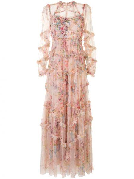 Розовое платье из фатина со вставками прозрачное Needle & Thread