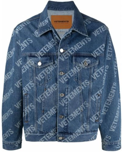 Хлопковая синяя джинсовая куртка с воротником Vetements