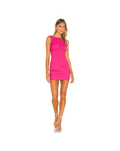 Шелковое розовое платье мини на молнии стрейч Lovers + Friends