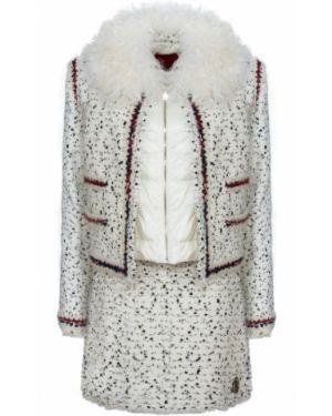 Белый костюмный костюм на молнии с декоративной отделкой Moncler Gamme Rouge