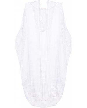 Белая накидка с капюшоном прозрачная с V-образным вырезом свободного кроя Ereda