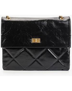 Кожаная сумка через плечо черная Mallanee
