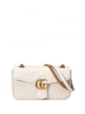 Белая стеганая сумка на цепочке на молнии металлическая Gucci