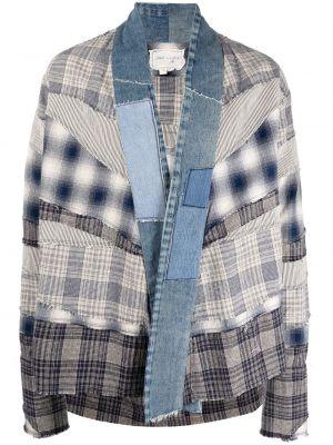 Хлопковая синяя рубашка в клетку Greg Lauren