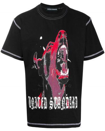 Хлопковая черная рубашка с коротким рукавом круглая с короткими рукавами United Standard