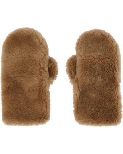 Wełniany brązowy rękawiczki prążkowany Yves Salomon