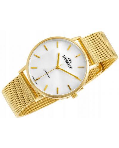 Biały klasyczny złoty zegarek Bisset