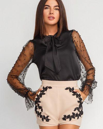Блузка с длинным рукавом черная Gepur