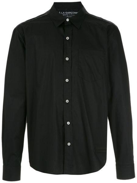 Черная прямая классическая рубашка с воротником на пуговицах à La Garçonne