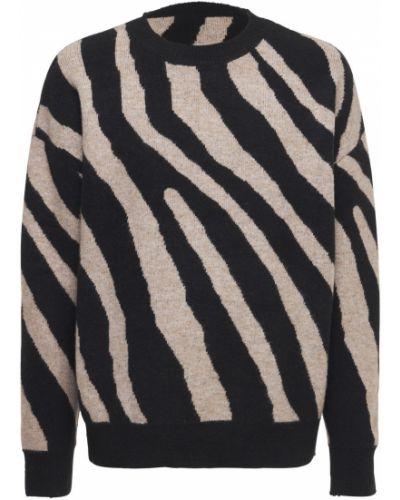 Prążkowany czarny sweter z akrylu Other