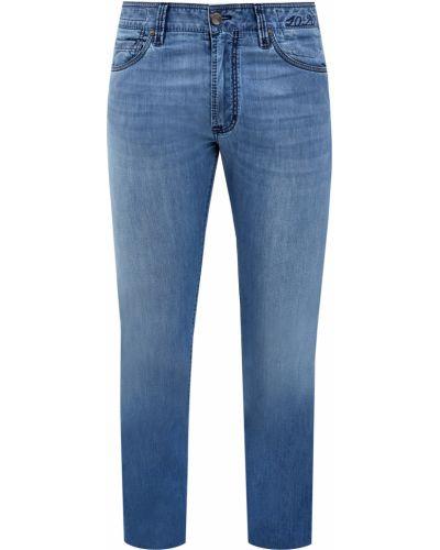Синие зауженные джинсы с нашивками с поясом Cortigiani