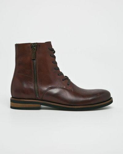 Ботинки на шнуровке кожаные высокие Badura