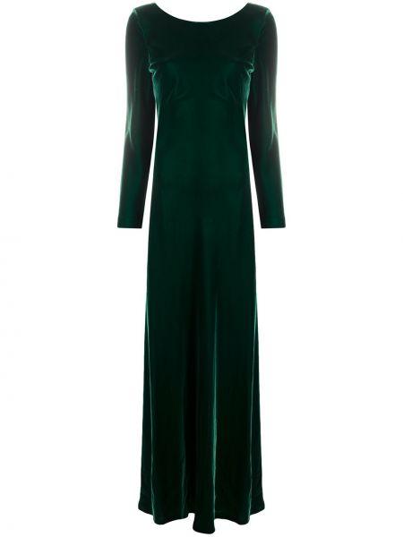 Шелковое расклешенное платье макси с длинными рукавами с вырезом Alberta Ferretti