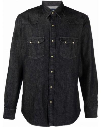 Czarna koszula bawełniana Lardini