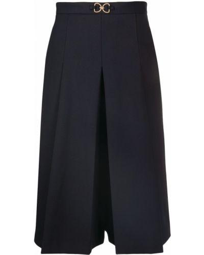 Bawełna niebieski wełniany spodnie culotte wysoki wzrost Sandro Paris
