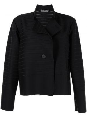 Черный удлиненный пиджак с воротником на пуговицах Issey Miyake