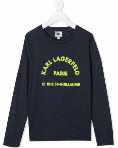 Хлопковая синяя футболка с длинными рукавами с круглым вырезом Karl Lagerfeld Kids