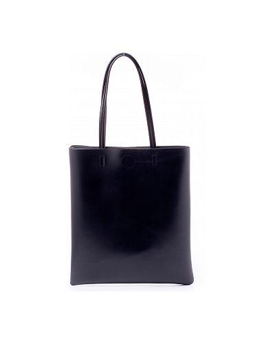 Кожаная черная сумка шоппер удлиненная каляев