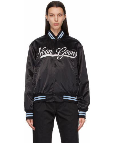 Czarna długa kurtka w paski z haftem Noon Goons