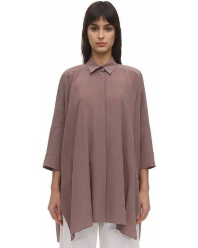 Фиолетовая шелковая классическая рубашка с воротником Agnona
