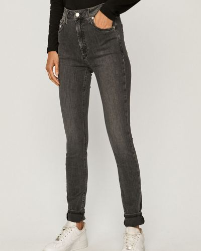 Szare jeansy rurki bawełniane Calvin Klein Jeans
