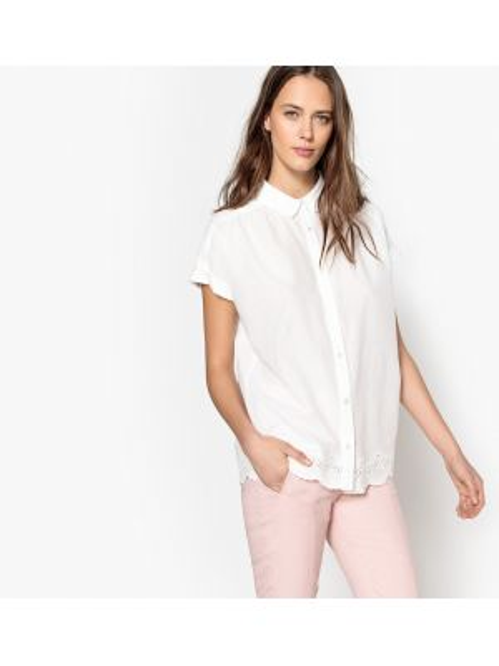 Рубашка с коротким рукавом хлопковая свободного кроя Mademoiselle R