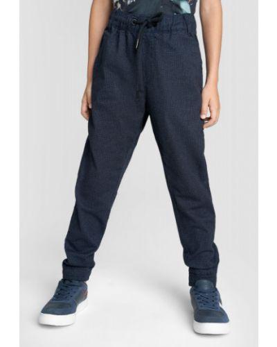 Зауженные синие брюки на резинке с поясом из поплина Ostin