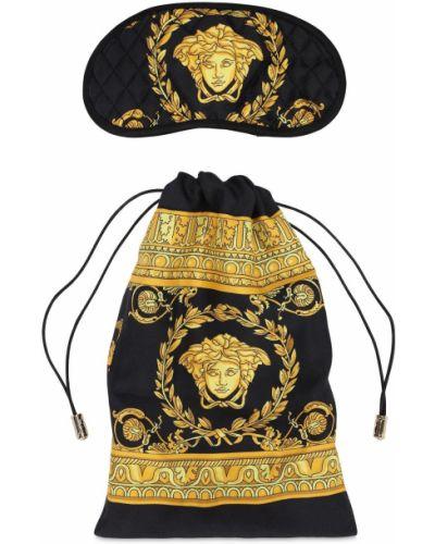 Czarny szlafrok z jedwabiu z printem Versace