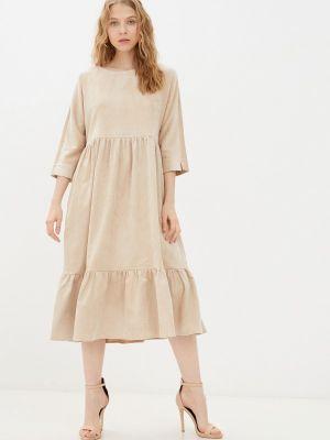 Прямое платье - бежевое Vivostyle