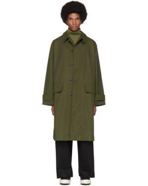 Длинное пальто с воротником на молнии хаки с подкладкой Studio Nicholson
