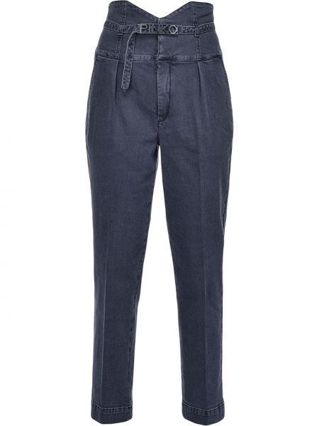 Niebieskie jeansy z wysokim stanem bawełniane Pinko