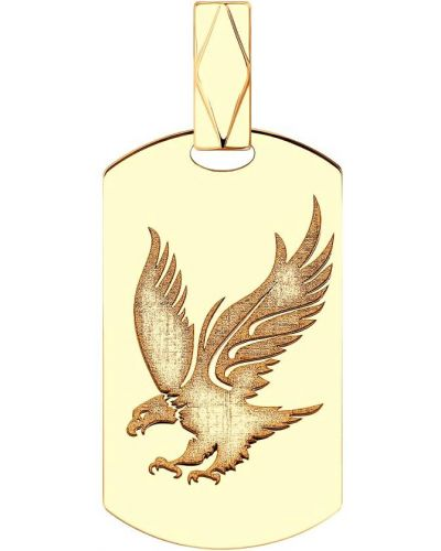 Медальон золотой с подвесками с декоративной отделкой Sokolov