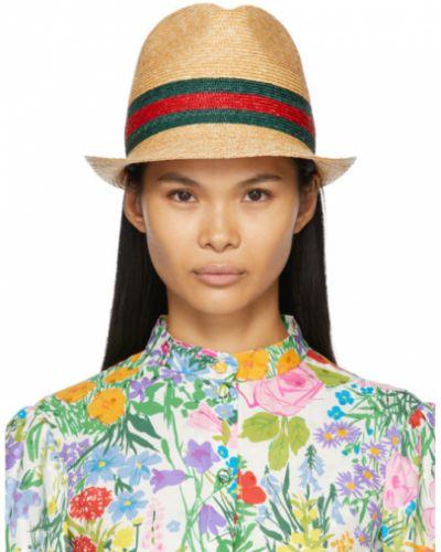 Słoma beżowy kapelusz z paskami w paski Gucci