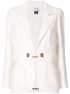 Шерстяной приталенный белый удлиненный пиджак Edward Achour Paris