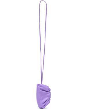 Fioletowa torebka mini skórzana Bottega Veneta