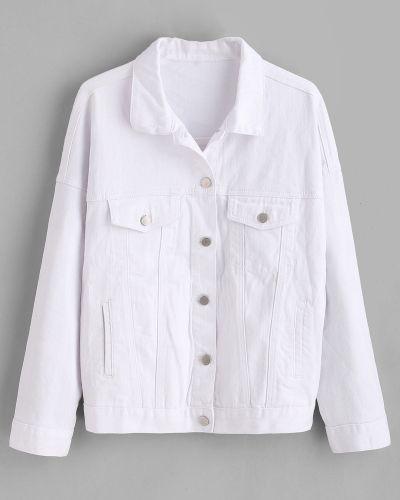 Джинсовая куртка белая Zaful