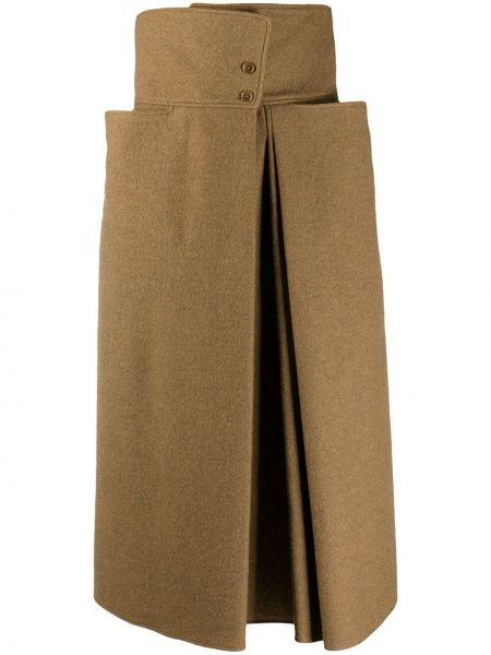 Wełniany brązowy z wysokim stanem spódnica z kieszeniami Lemaire