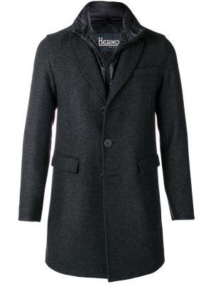 Klasyczny jednorzędowy wełniany długi płaszcz z kieszeniami Herno