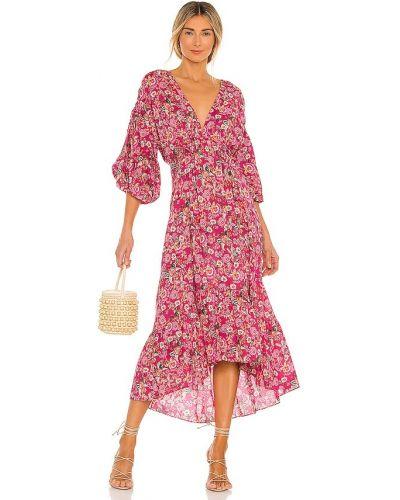 Розовое текстильное с кулиской платье на крючках Misa Los Angeles
