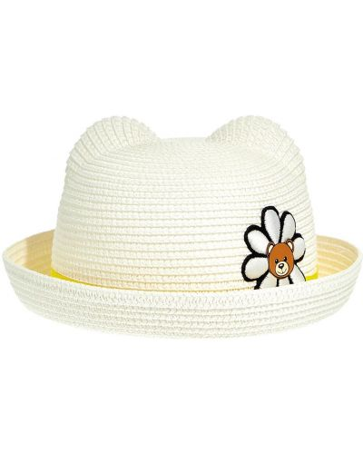 Biały słoma kapelusz z aplikacjami Moschino