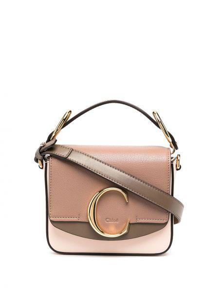 Bawełna skórzany brązowy mini torebka z kieszeniami Chloe