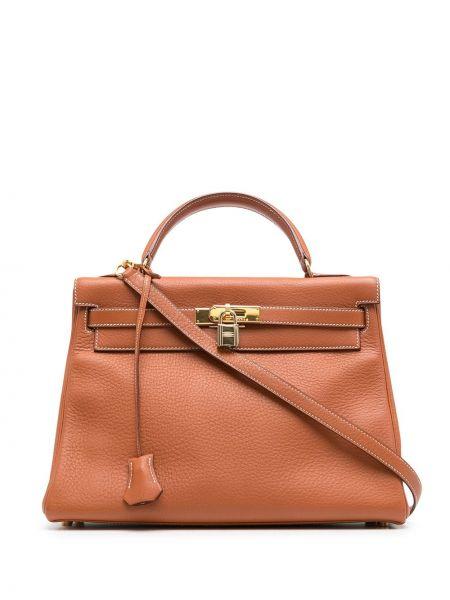 Pomarańczowa torebka skórzana Hermes