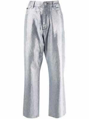 Широкие джинсы с завышенной талией - синие Philipp Plein