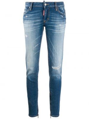 Укороченные зауженные джинсы - синие Dsquared2