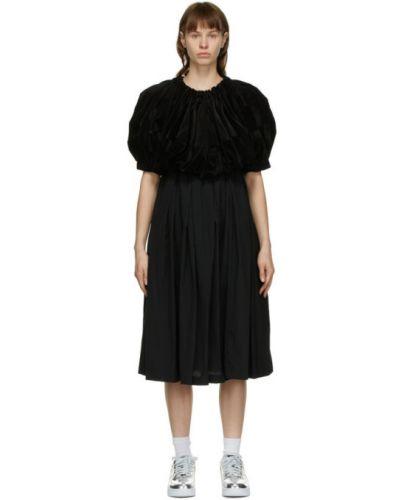 Бархатное черное платье с воротником Comme Des Garçons