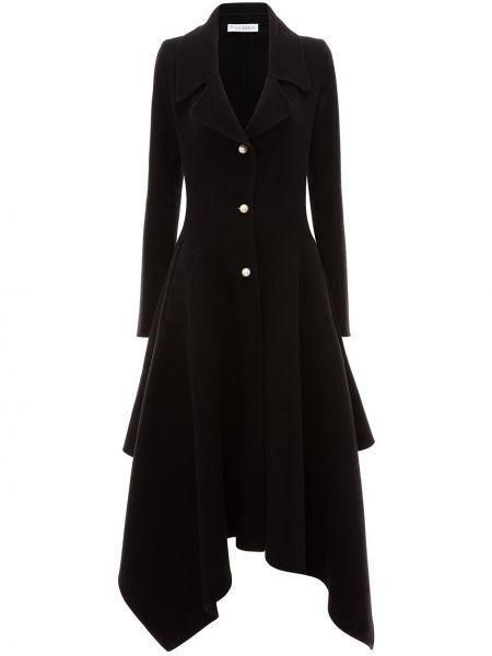 Черное однобортное шерстяное пальто на пуговицах Jw Anderson
