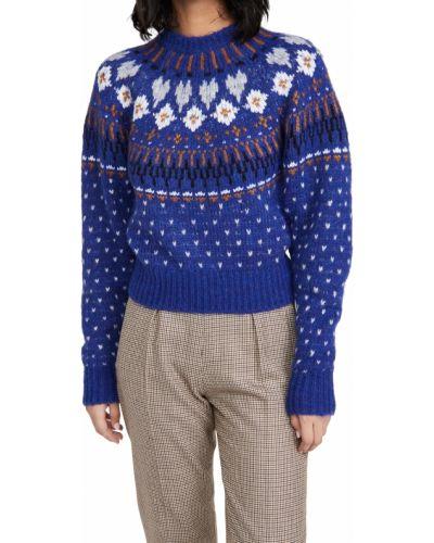 Niebieski długi sweter wełniany z długimi rękawami Rag & Bone