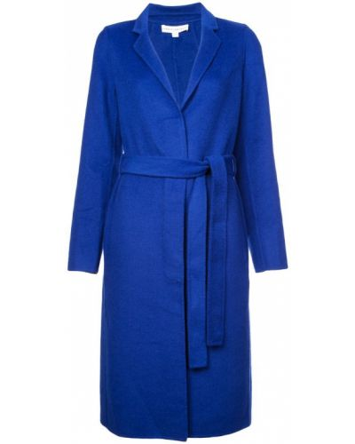 Однобортное синее шерстяное пальто с поясом Robert Rodriguez Studio
